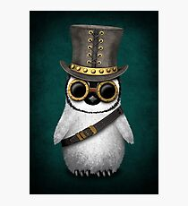 Steampunk Baby Penguin Teal Blue Photographic Print