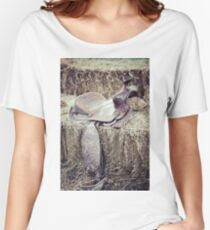Vintage saddle on a hay bale Women's Relaxed Fit T-Shirt