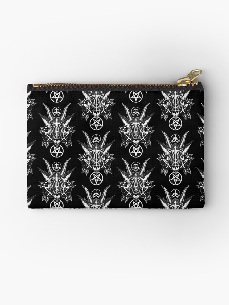 Baphoment And Satanic Symbols Art By Kev G Studio Pouches By