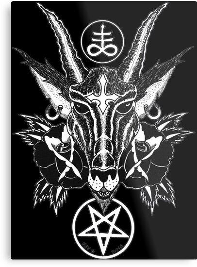 Baphoment And Satanic Symbols Art By Kev G Metal Prints By