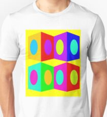 ABSTRACT ILLUSION: Colorful Blocks Print Unisex T-Shirt