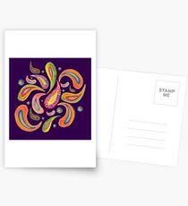 Paisley 2 on purple Postcards
