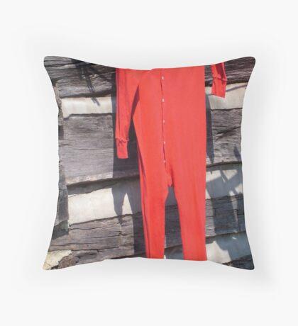 Red Longjohns Throw Pillow
