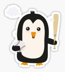 Penguin Baseball Player with Ball Rv6qq Sticker