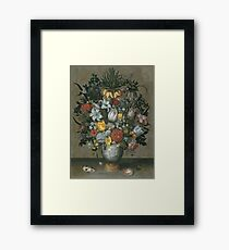 Ambrosius Bosschaert I - Chinese Vase With Flowers, Shells And Insects Framed Print