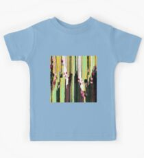 The textured textile abstract, yellow, green, red and black Kids Tee