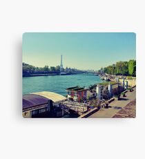 Paris, Eiffel tower, river, Seine, sky Canvas Print