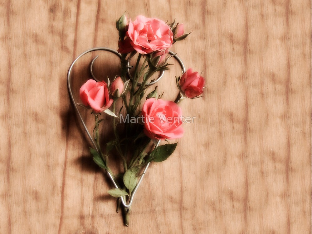 Wire Heart with Roses by Martie Venter