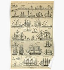french vintage sailing ships Poster