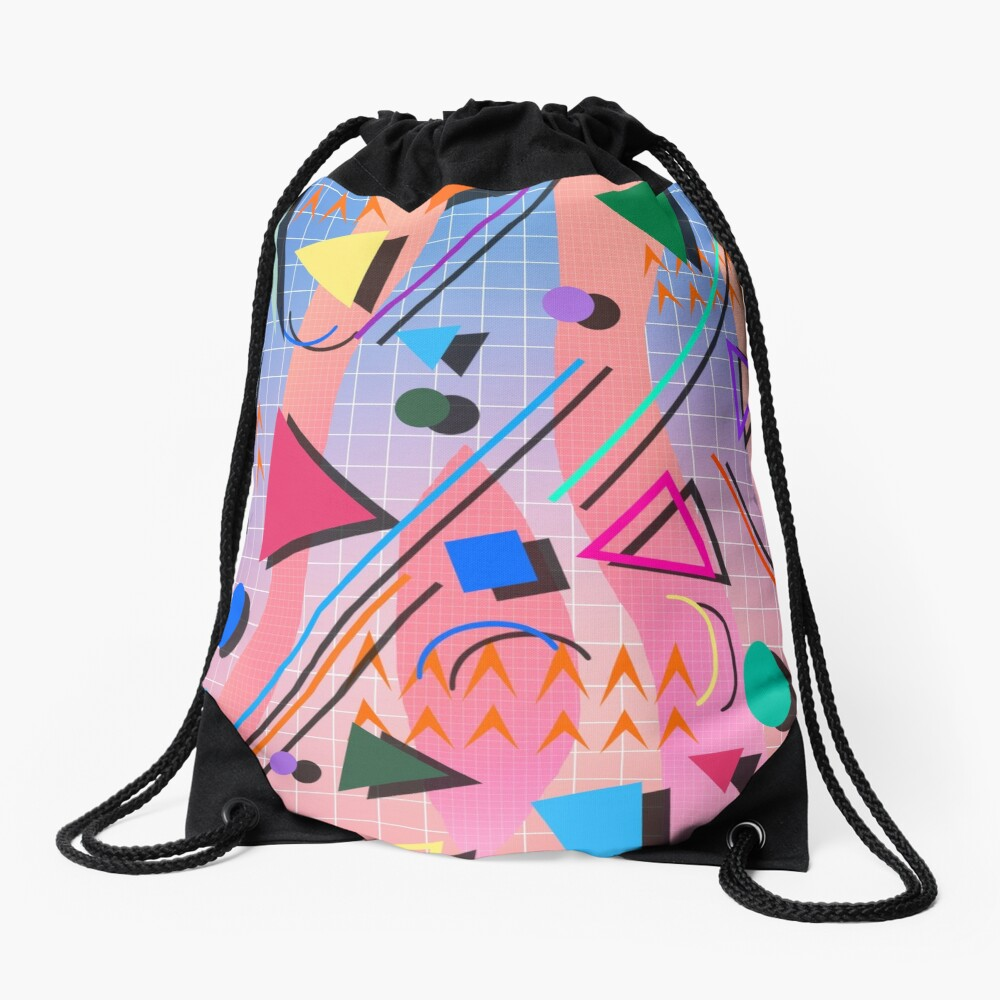 80s pop retro pattern 2 Drawstring Bag