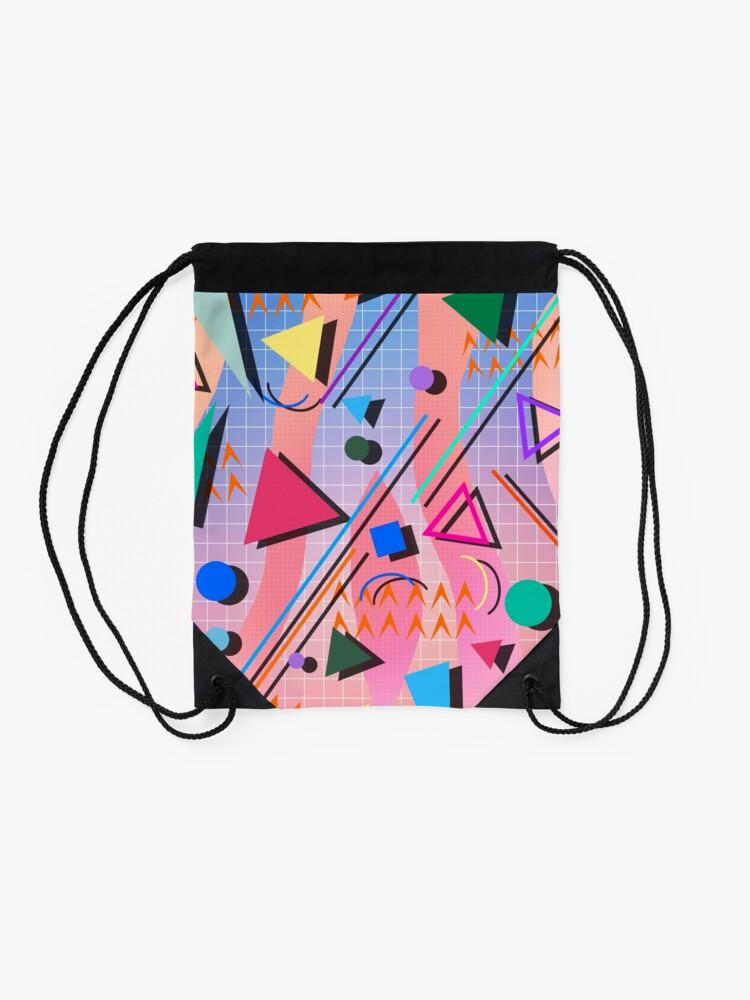 Alternate view of 80s pop retro pattern 2 Drawstring Bag