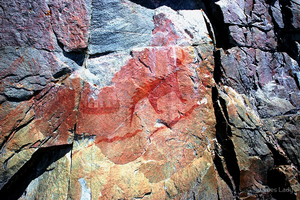 Ojibwa Pictographs, Circa 1600 AD by James Lady