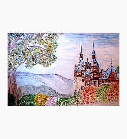 My coloured pencil drawing of Peles Castle, Prahova County, Romania Photographic Print