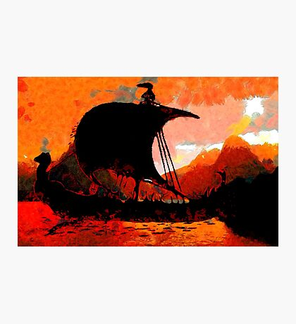 A Viking Longship at Sunset Photographic Print