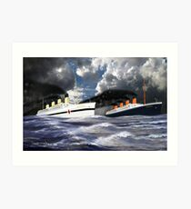 RMS Titanic and her Sister the HMHS Britannic early 20th century Art Print