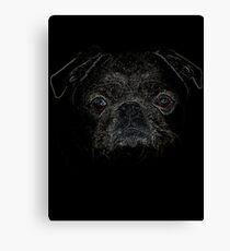 pug, Colourful, black shirt Canvas Print
