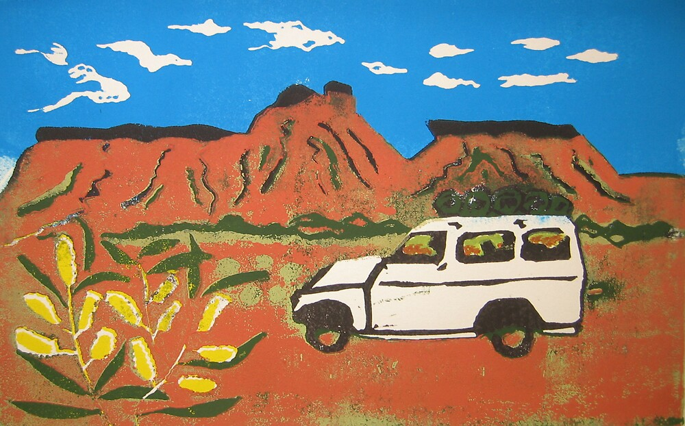 Landcruiser & wattle on the Canning by Pip Williams