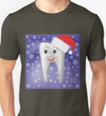 Winter White Smiling Tooth on Snowflake Blue Blurred Background Unisex T-Shirt
