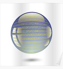 digital sphere with programming code isolated on white background Poster