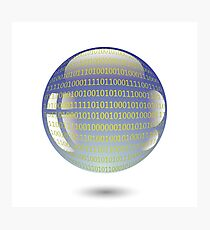 digital sphere with programming code isolated on white background Photographic Print
