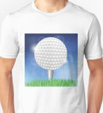 Golf White Ball on Blurred Blue Sky Background Unisex T-Shirt