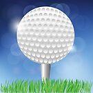 Golf White Ball on Blurred Blue Sky Background by valeo5
