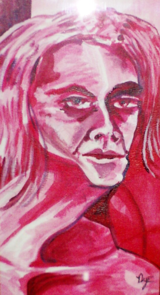 Self-portrait In Reds (Acrylics and Inks)- by Robert Dye