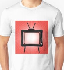 Retro Old TV Icon on Red Wave Blurred Background Unisex T-Shirt