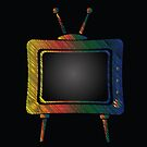 Retro Old TV Colorful Icon on Black Background by valeo5
