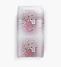 70s pink, blonde deco flapper dolly. by Jacqueline Mcculloch Duvet Cover