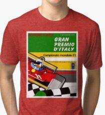 ITALY GRAND PRIX: Vintage Auto Racing Advertising Print Tri-blend T-Shirt