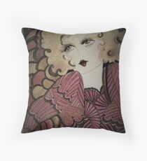 autumn 70s,flapper deco dolly by Jacqueline Mcculloch Throw Pillow