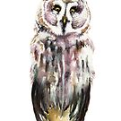Gary. The Great Gray Owl (white background) by Emily May  Studio Arts