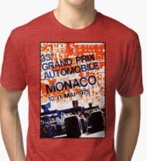MONACO GRAND PRIX: Vintage Auto Racing Advertising Print Tri-blend T-Shirt
