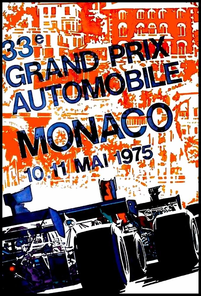 MONACO GRAND PRIX: Vintage Auto Racing Advertising Print by posterbobs