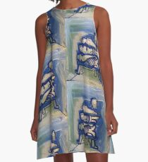 Blue stacked A-Line Dress