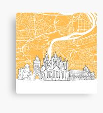 Prague Czech Republic Skyline Map Canvas Print