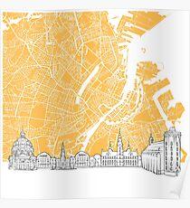 Copenhagen Denmark Skyline Map Poster