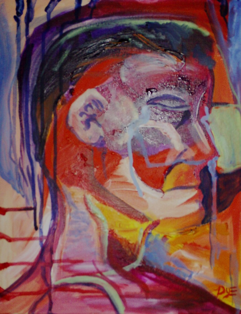 Crying Self-portrait (Acrylics)- by Robert Dye