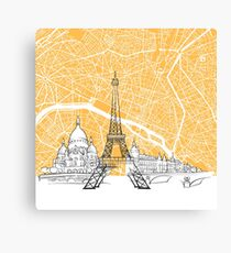 Paris France Skyline Map Canvas Print