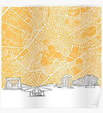 Athens Greece Skyline Map Poster