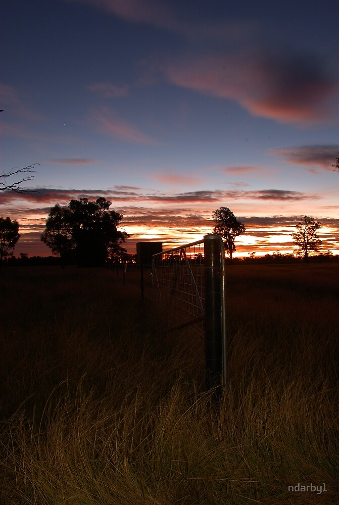 SUNSET THROUGH A FENCE by ndarby1