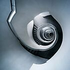 Spiral staircase in grey and blue tones by JBlaminsky