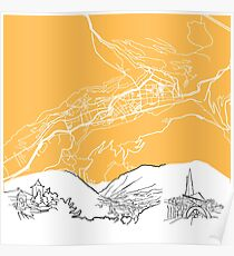 Andorra la Vella Background Map Poster