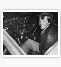 Amelia Earhart in Airplane Cockpit - Vintage Photo Sticker