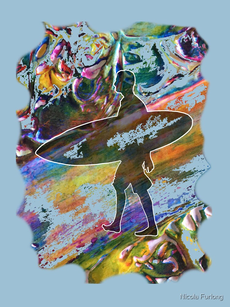 SURF'S UP COLOURFUL SURFER SILHOUETTE by nicolafurlong