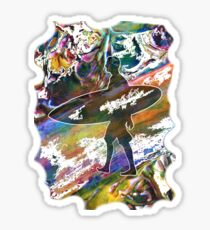 SURF'S UP COLOURFUL SURFER SILHOUETTE Sticker