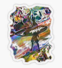 SURF'S UP COLOURFUL SURFER SILHOUETTE Transparent Sticker