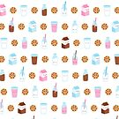Cute Milk and Cookies Pattern on White by mycutelobster