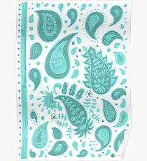 Turquoise paisley Poster